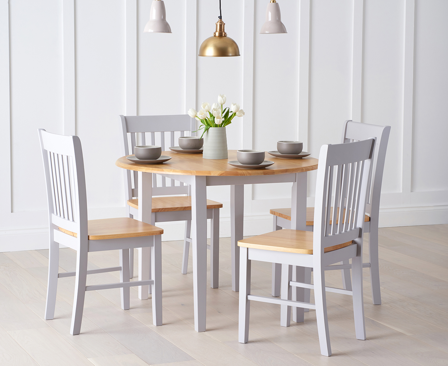 Genoa 100cm Oak and Grey Drop Leaf Extending Dining Table Set with Chairs