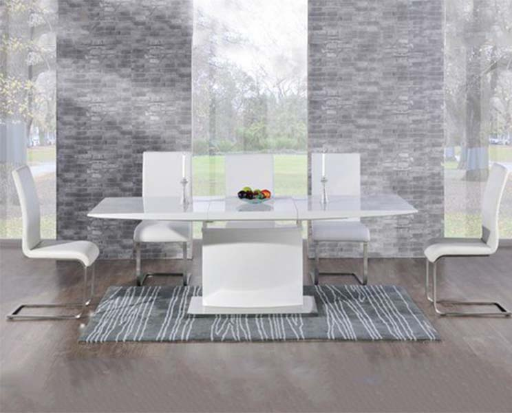 Hailey 160cm White High Gloss Extending Dining Table with White Malaga Chairs