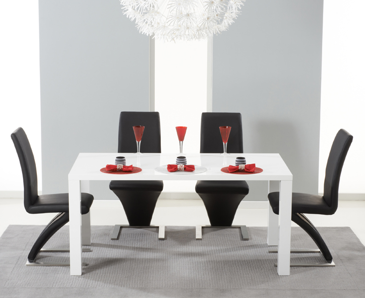 Hampstead 160cm White High Gloss Dining Table with Hampstead Z Chairs