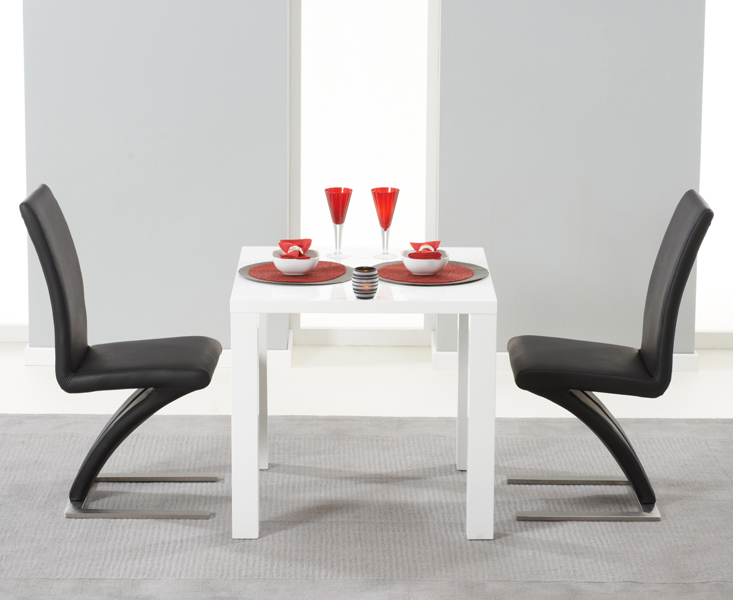 Hampstead 80cm White High Gloss Dining Table with Hampstead Z Chairs