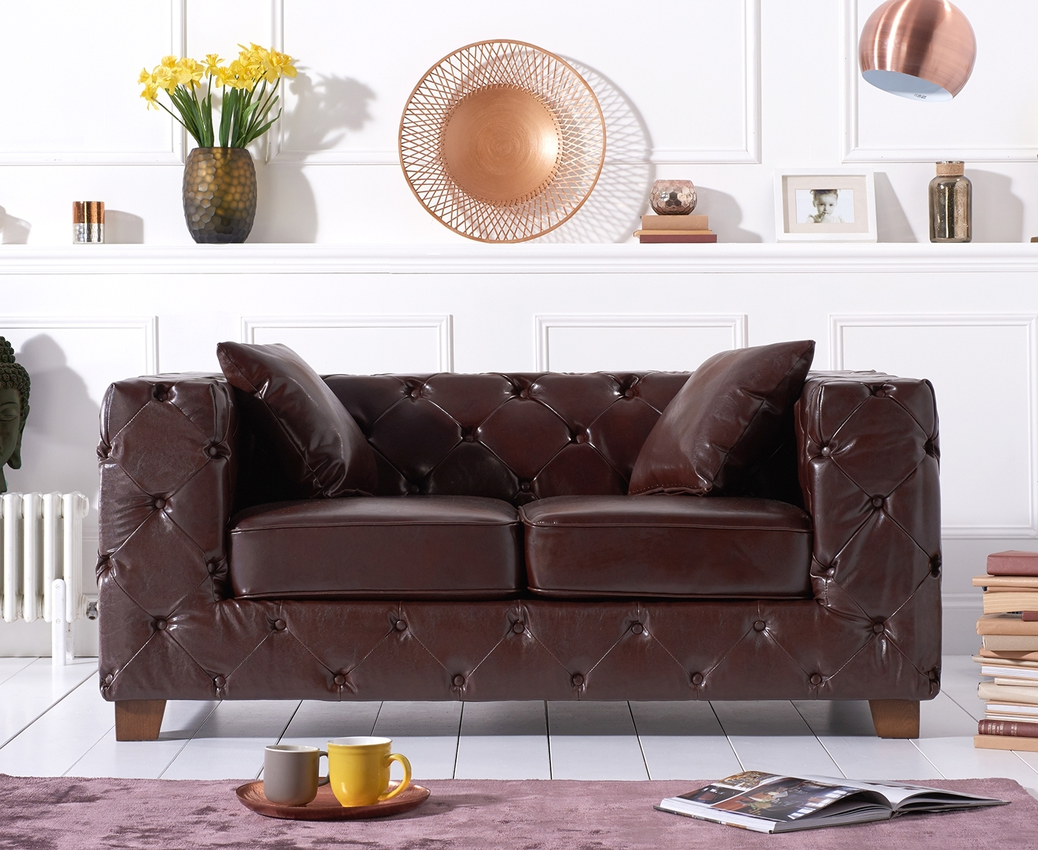 Harrison Chesterfield Brown Leather Two-Seater Sofa