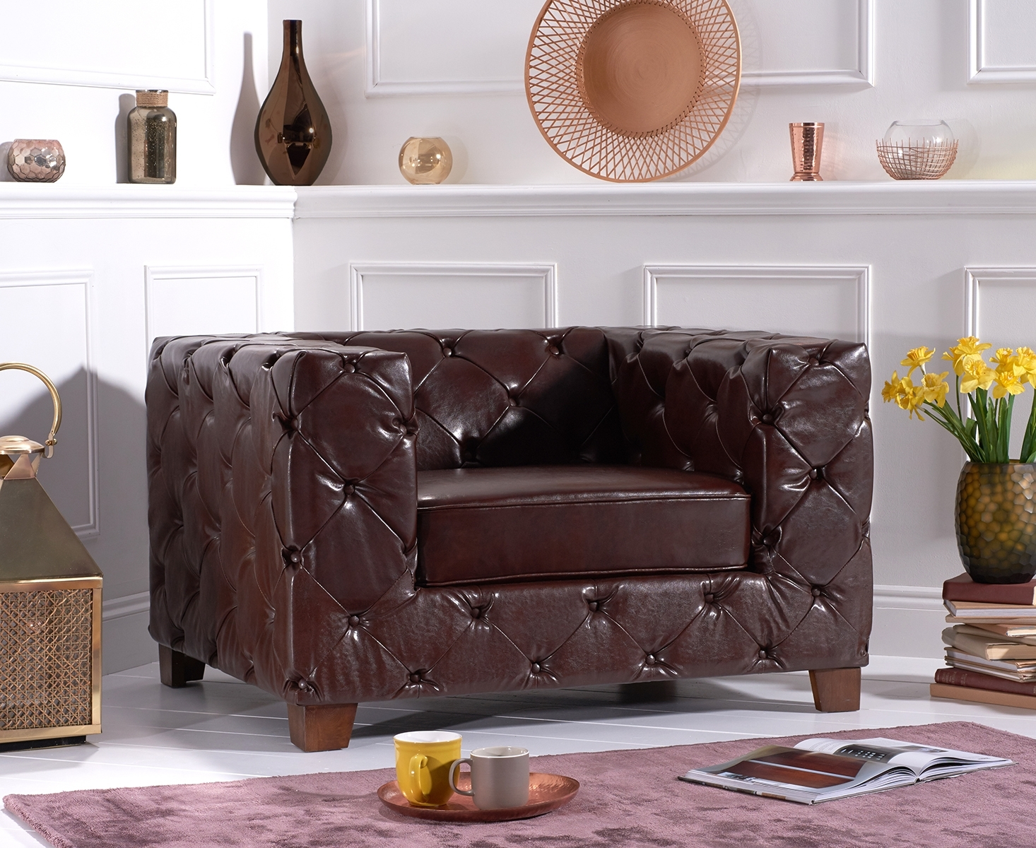 Photo of Harrison chesterfield brown leather armchair