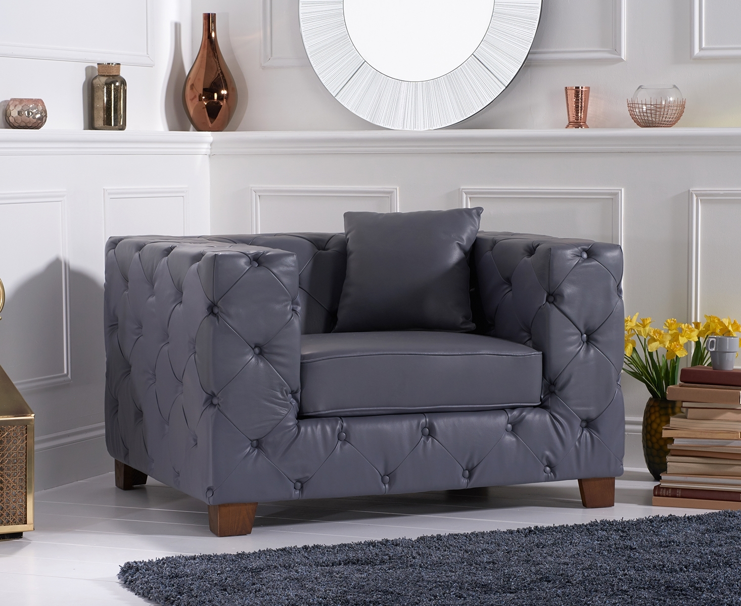 Harrison Chesterfield Grey Leather Armchair
