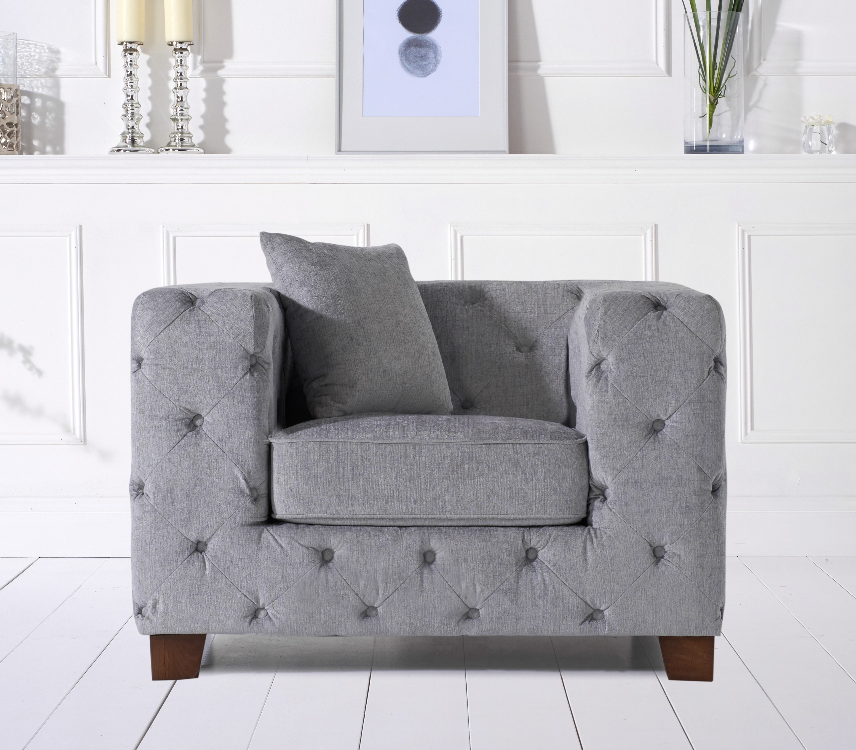 Harrison Chesterfield Grey Plush Armchair