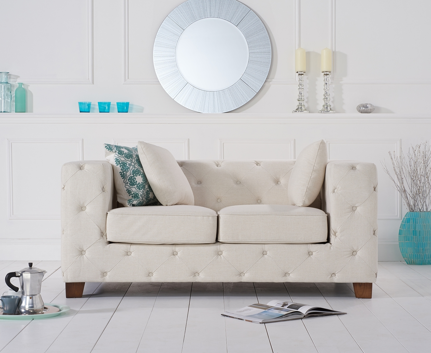 Harrison Chesterfield Ivory Fabric Two-Seater Sofa