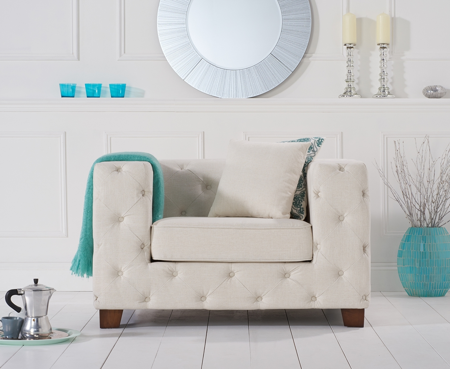 Harrison Chesterfield Ivory Fabric Armchair