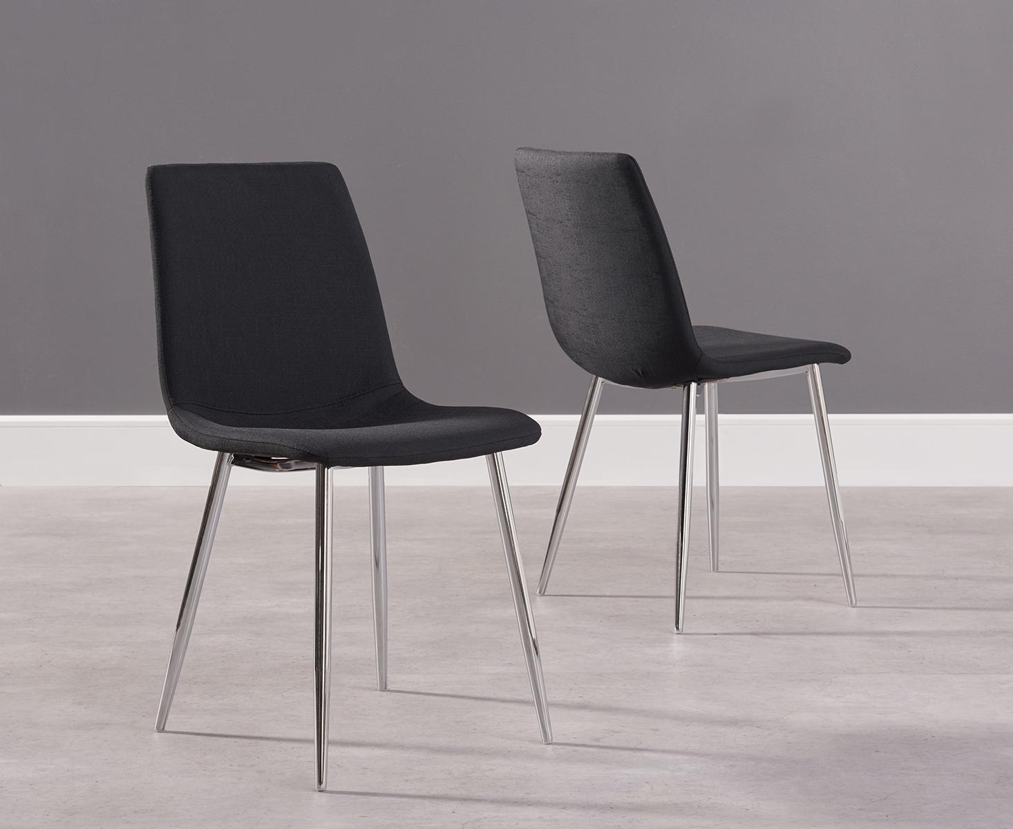 Photo of Hamburg black fabric and chrome dining chairs