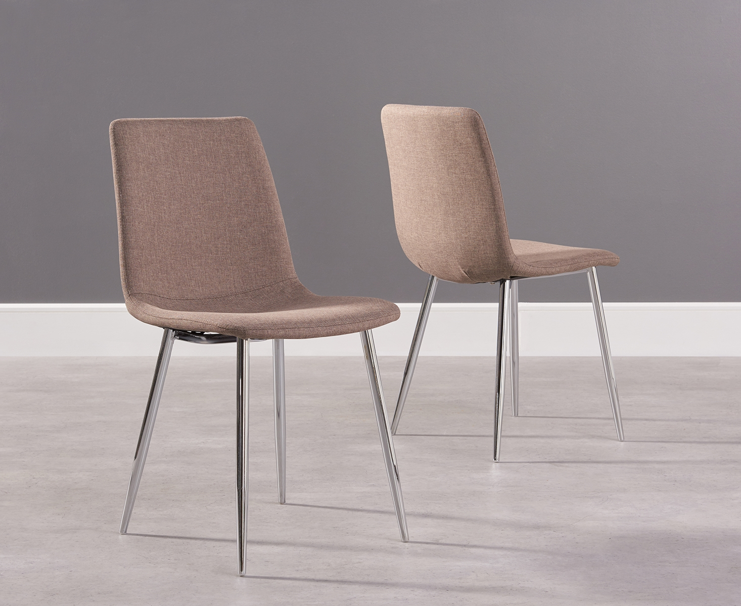 Photo of Hamburg brown fabric and chrome dining chairs