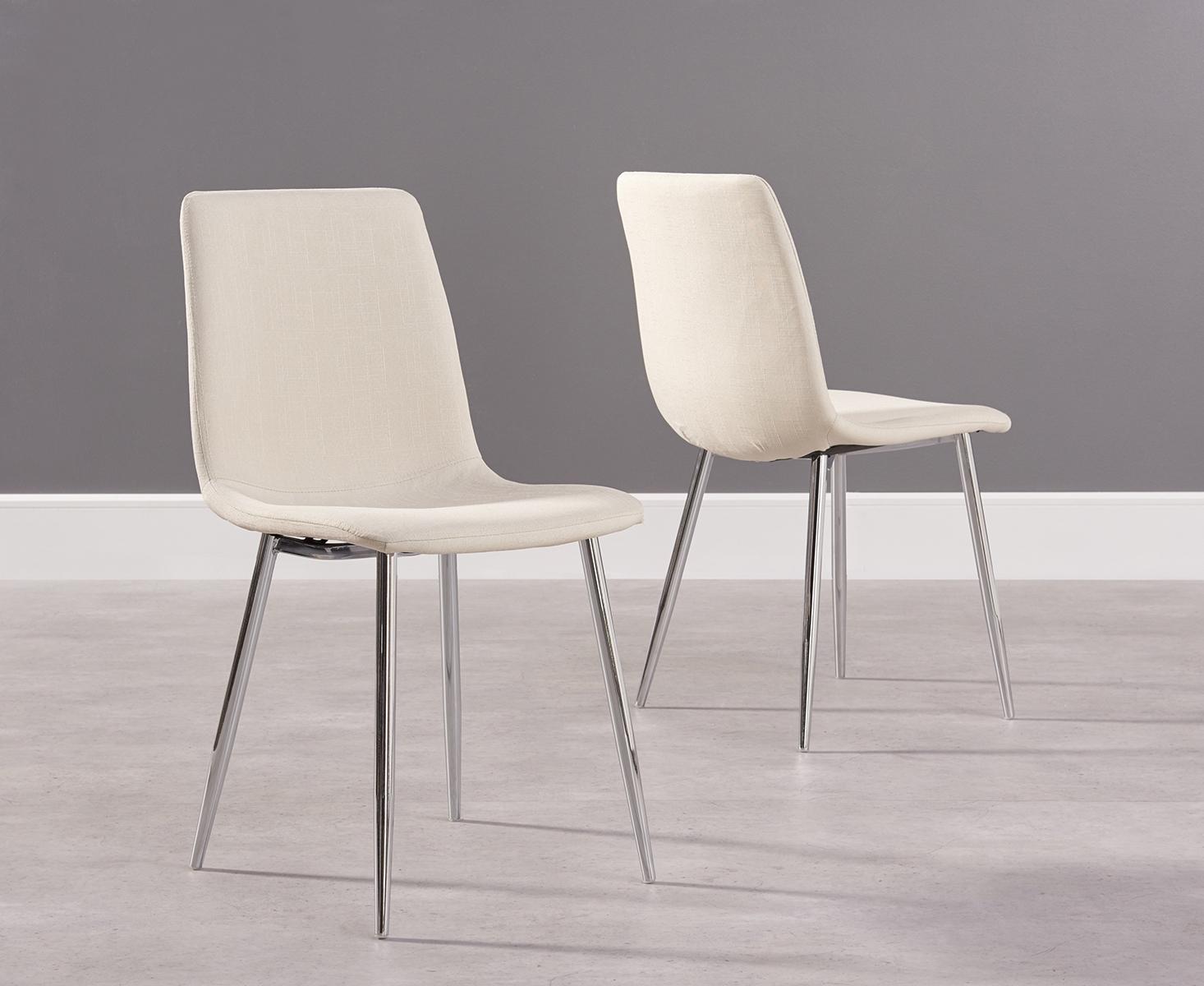 Photo of Hamburg cream fabric and chrome dining chairs