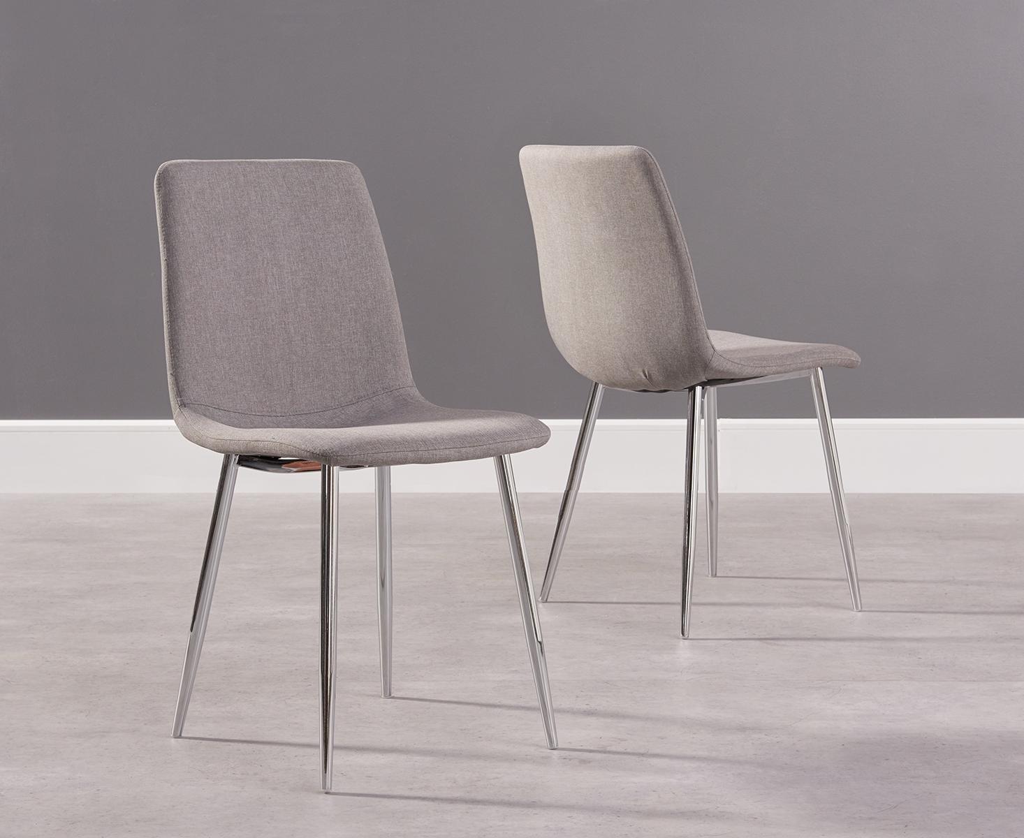 Photo of Hamburg grey fabric and chrome dining chairs