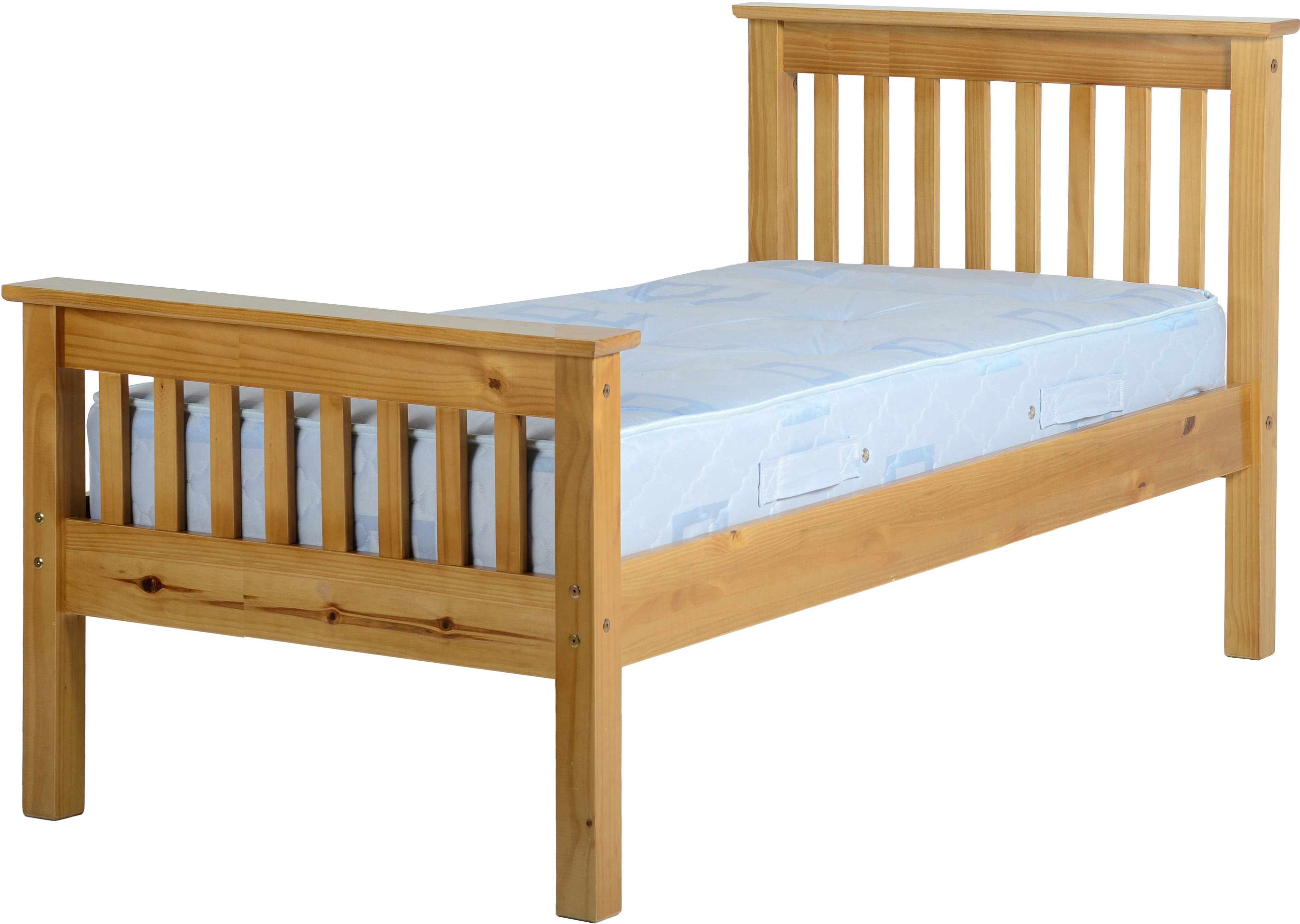 Monaco High Foot End Solid Pine Single Bed