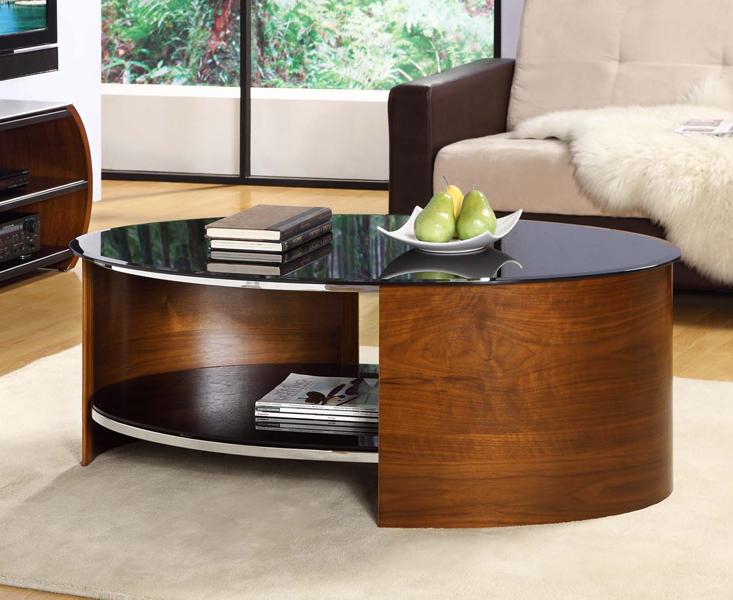 Curve Walnut Oval Coffee Table