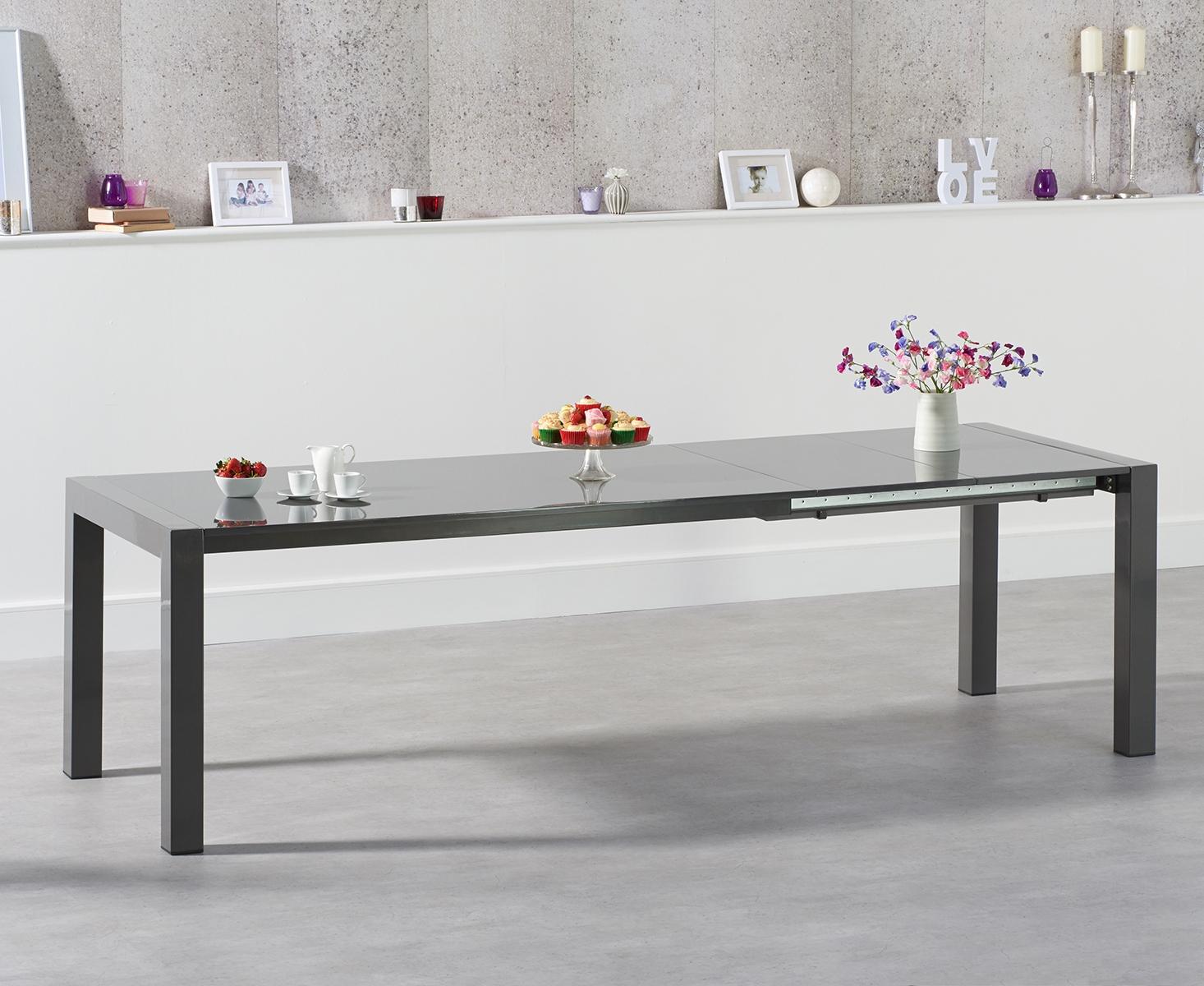 An image of Jacobi Extending Dark Grey High Gloss Dining Table