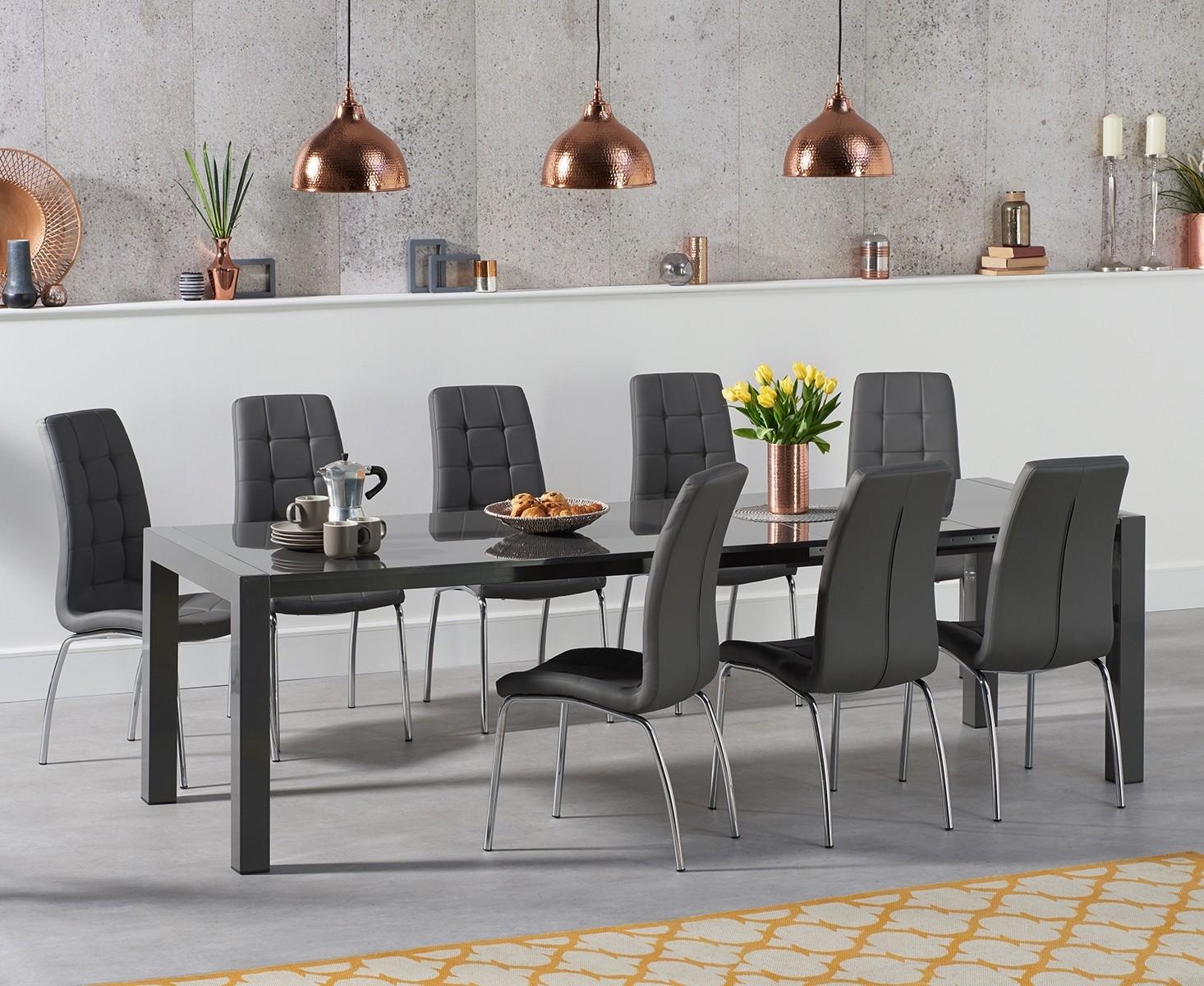An image of Jacobi Extending Dark Grey High Gloss Table with Calgary Chairs