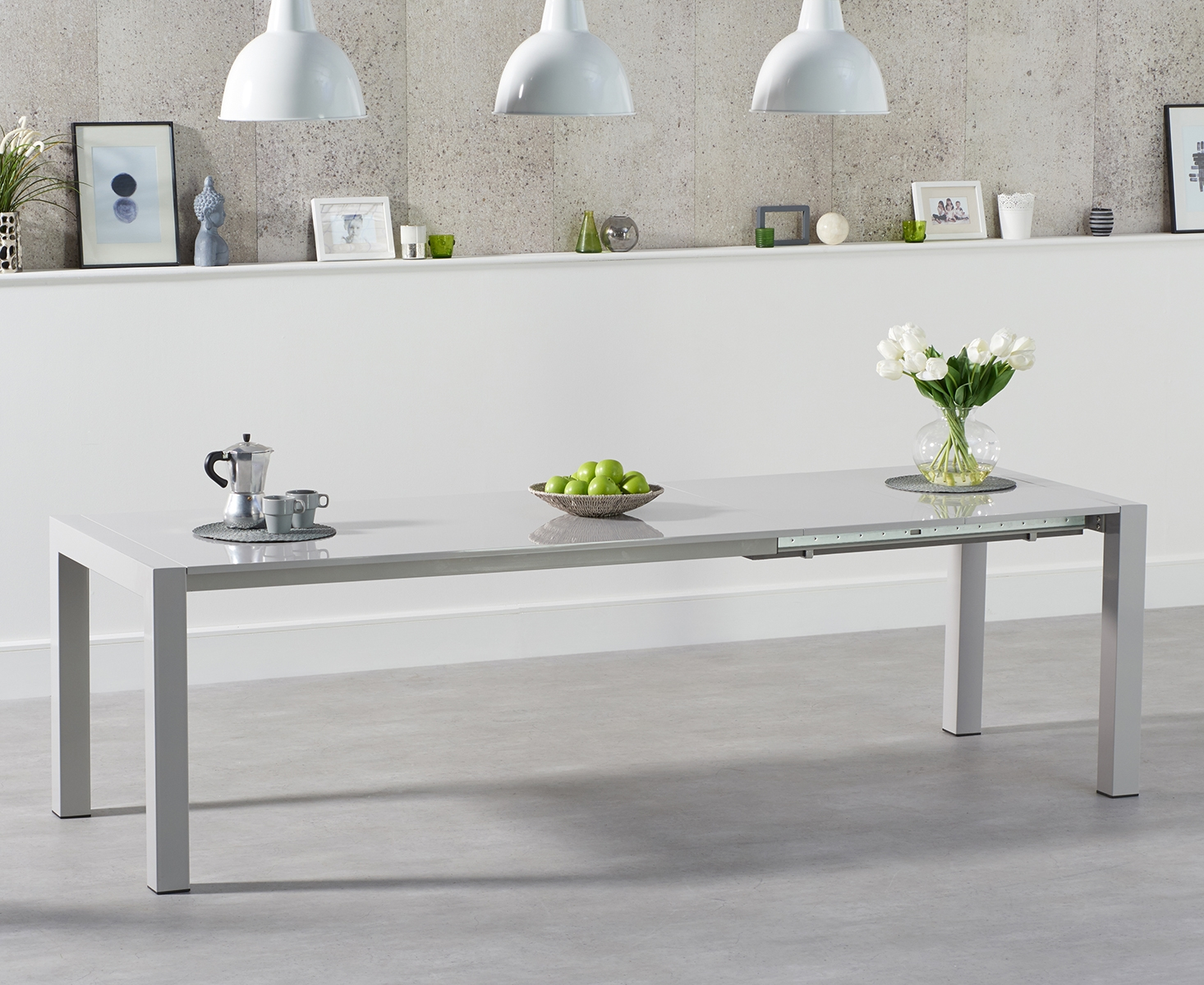 Jacobi Extending Light Grey High Gloss Dining Table