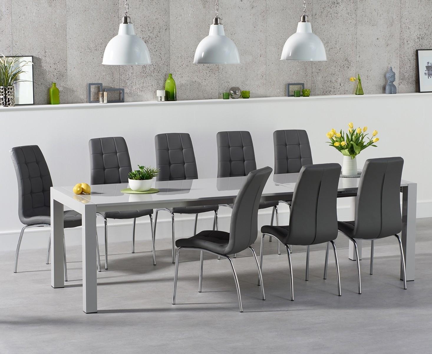 An image of Jacobi Extending Light Grey High Gloss Table with Calgary Chairs