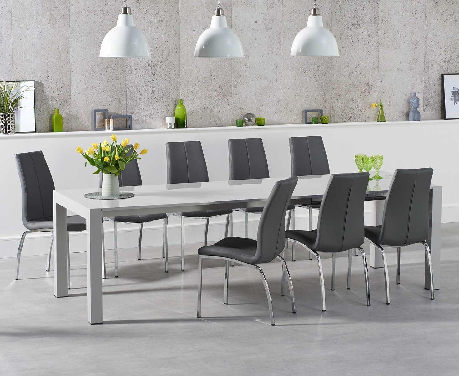 An image of Jacobi Extending Light Grey High Gloss Table with Cavello Chairs