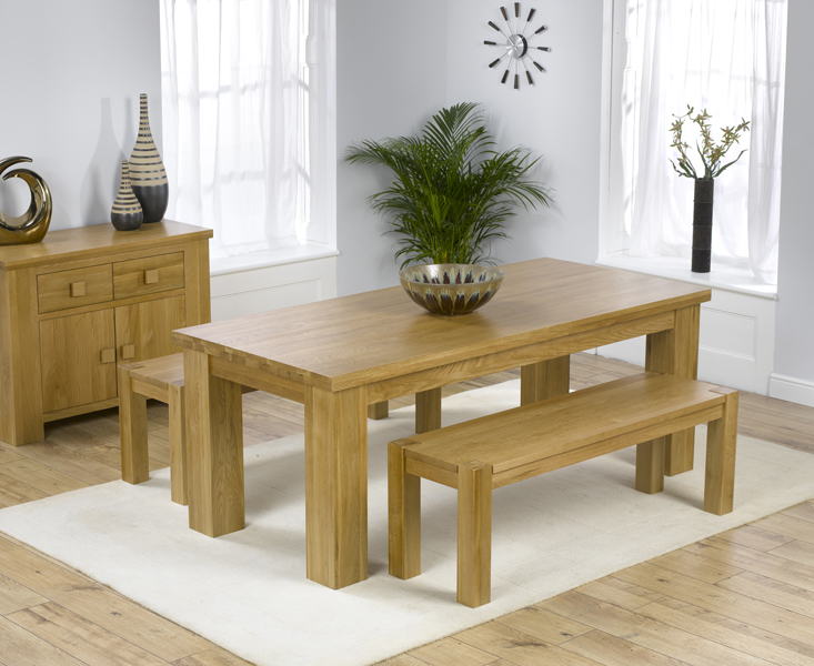 Kentucky 200cm Oak Dining Table with Benches