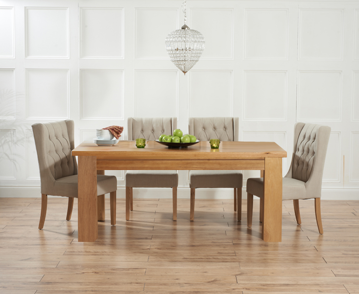 Kentucky 150cm Oak Dining Table with Safia Fabric Chairs