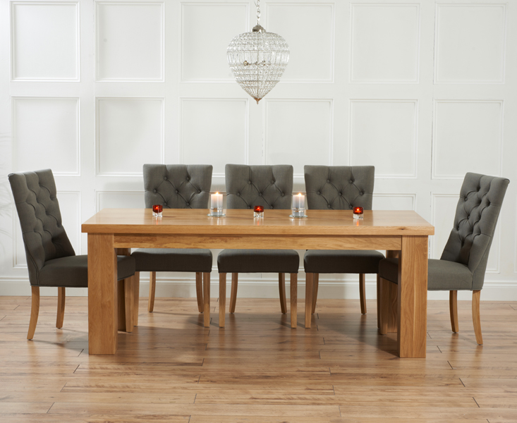 Kentucky 180cm Oak Dining Table with Anais Fabric Chairs