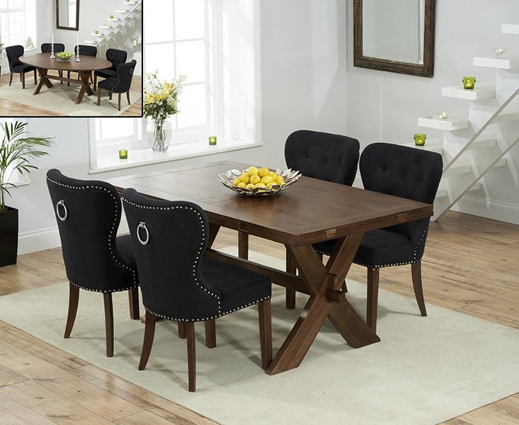 Bordeaux 165cm Dark Oak All Sides Extending Table with 8 Knightsbridge Fabric Dark Oak Leg Chairs