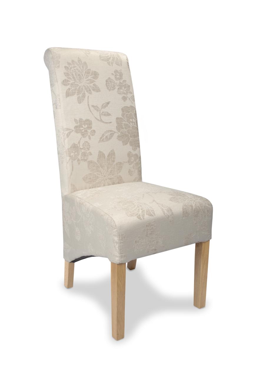 Dalia Fleur Cream Fabric Dining Chairs