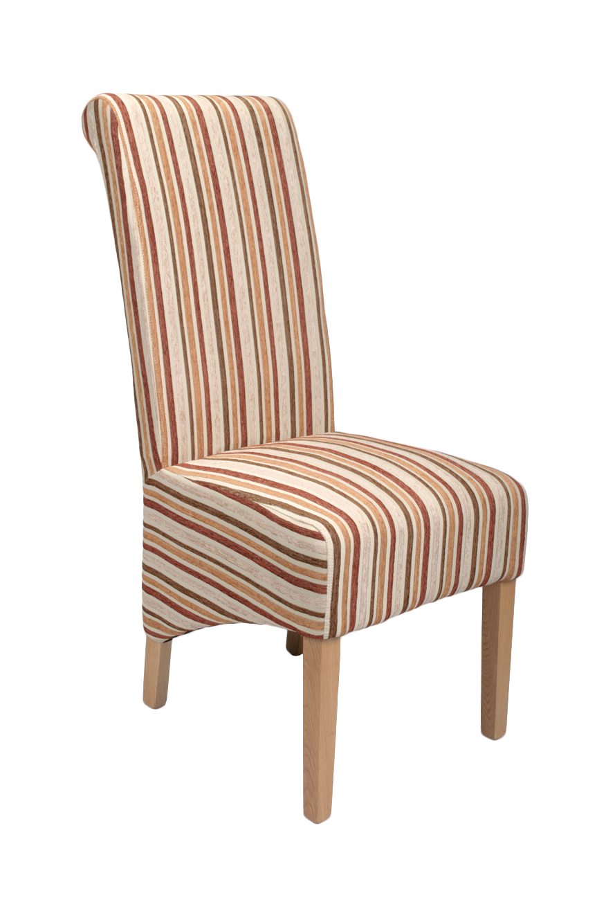 Dalia Stripe Antique Gold Fabric Dining Chairs (Pair)