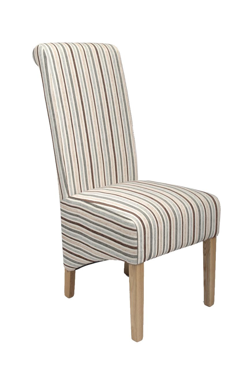 Dalia Stripe Duck Egg Blue Fabric Dining Chairs