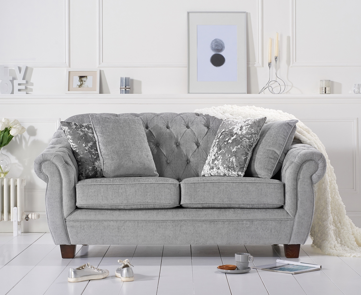 Lacey Chesterfield Grey Plush Fabric Two-Seater Sofa