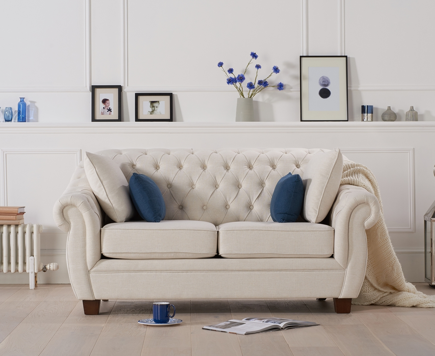 Lacey Chesterfield Ivory Fabric Two-Seater Sofa