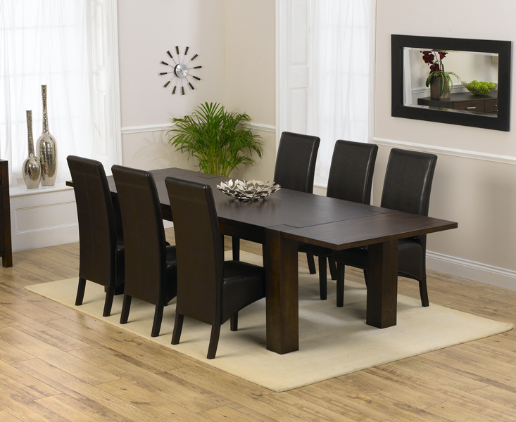 Madrid 200cm Dark Solid Oak Extending Dining Table with Dakota Chairs