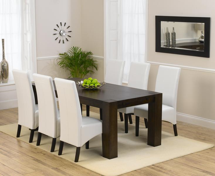 Madrid 200cm Dark Solid Oak Dining Table with Dakota Chairs
