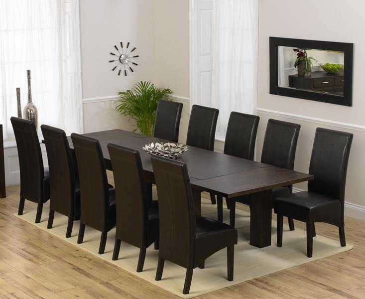Madrid 200cm Dark Solid Oak Extending Dining Table with 8 Dakota Chairs