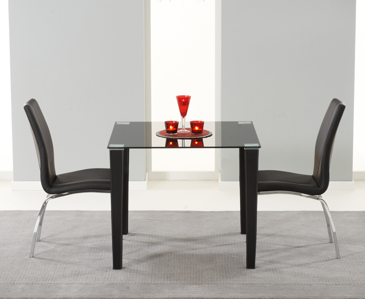 Madison 90cm Black Glass Dining Table with Cavello Chairs