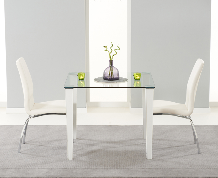 Madison 90cm Clear Glass Dining Table with Cavello Chairs
