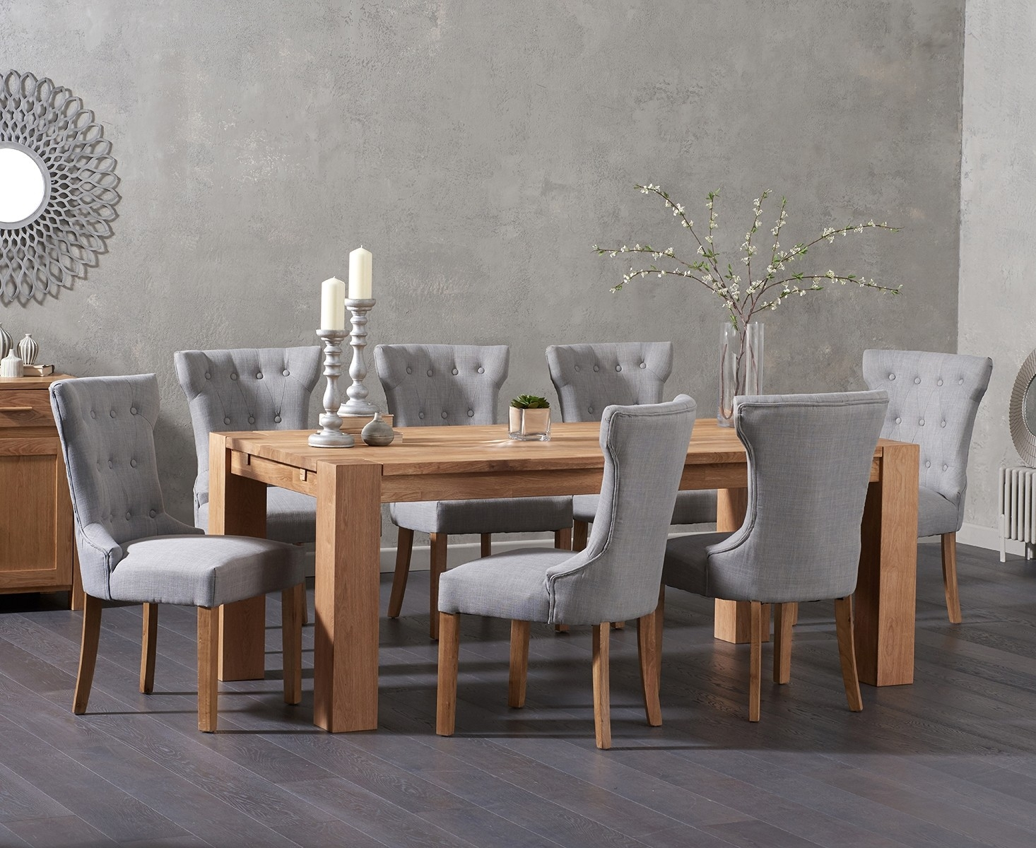 Product photograph showing Madrid 200cm Solid Oak Dining Table With Cora Fabric Chairs