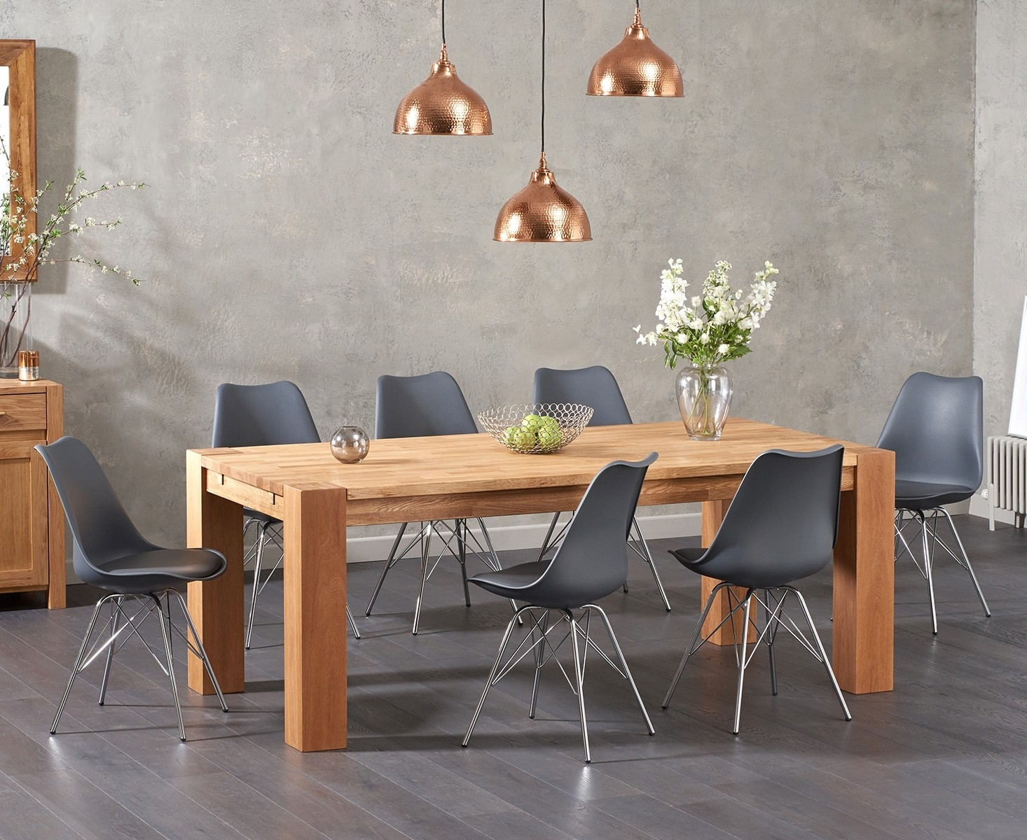 Madrid 200cm Oak Dining Table with Calvin Chrome Leg Chairs