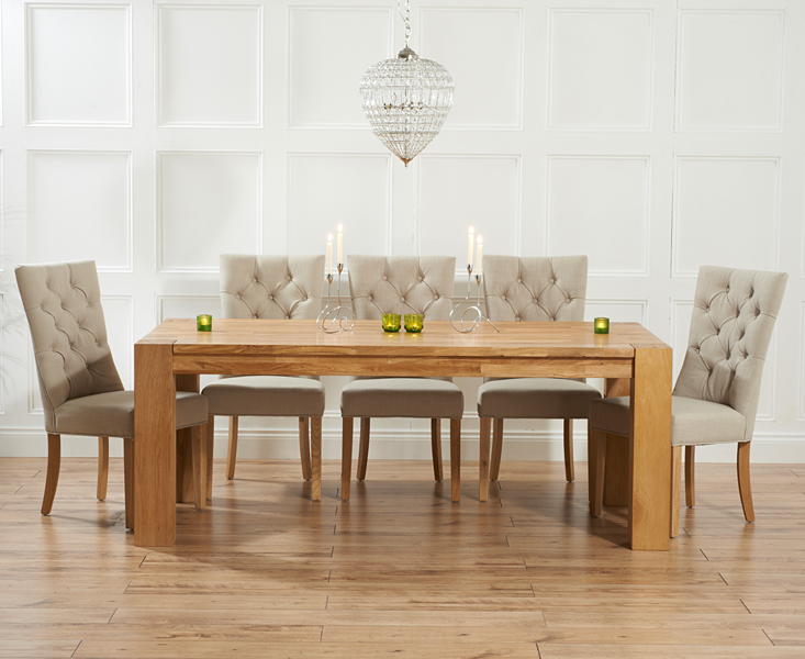 Madrid 240cm Solid Oak Dining Table with Anais Fabric Chairs