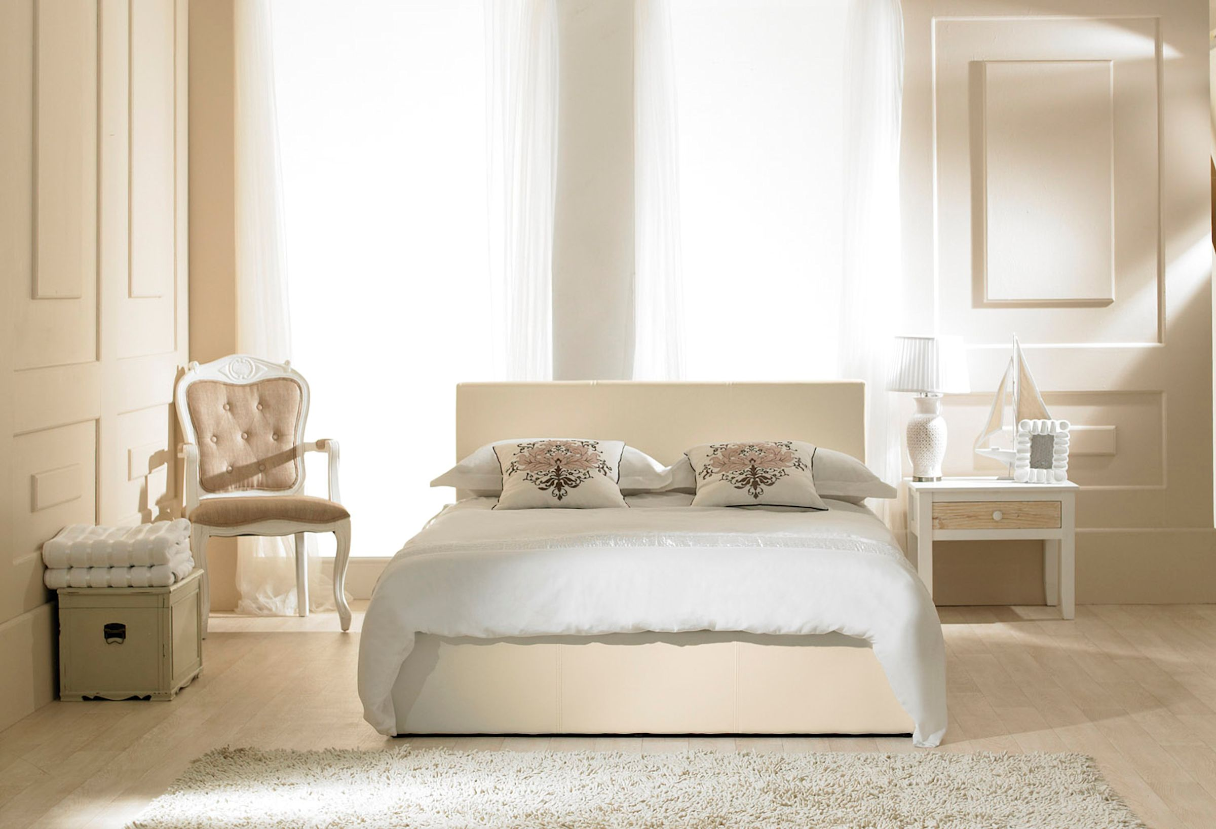 Madrid Ivory Faux Leather Ottoman Double Bed