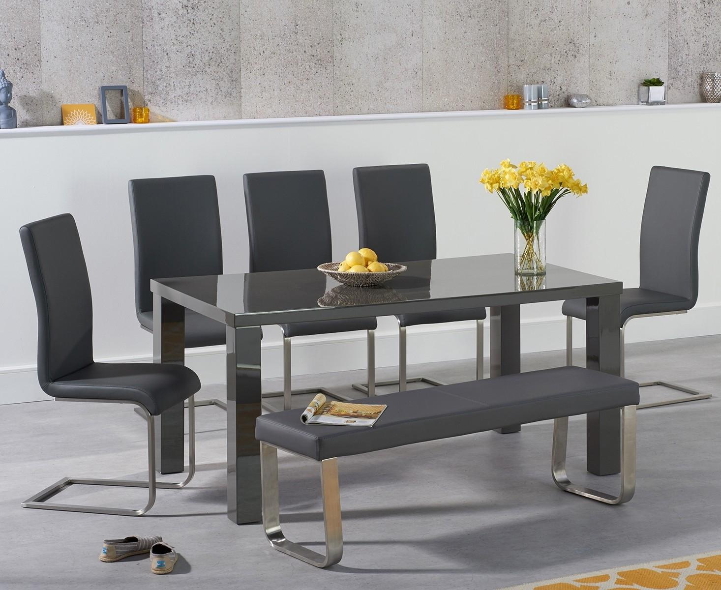 An image of Atlanta 160cm Dark Grey High Gloss Dining Table with Malaga Chairs and Atlanta G...