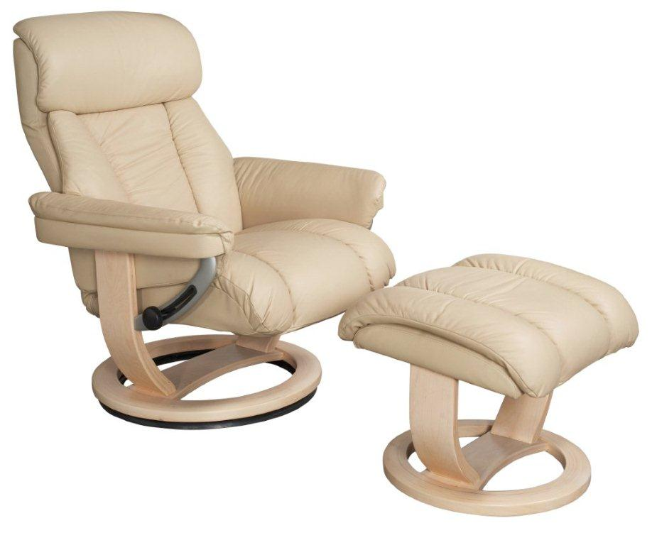 Mars Swivel Cream Leather Recliner and Footstool
