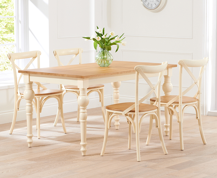 Marseille 150cm Shabby Chic Oak and Cream Dining Table and Chairs