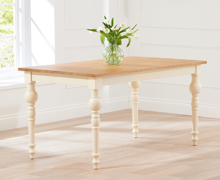 Marseille 150cm Shabby Chic Oak and Cream Dining Table