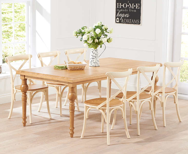 Marseille 200cm French Style Dining Table And Oak And Cream Chairs For 699 0