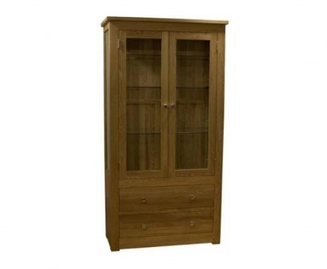 Reno 100cm Oak Glazed Display Cabinet