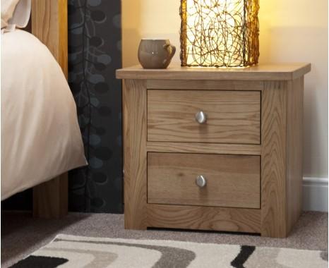 Reno Oak 2 Drawer Bedside Chest