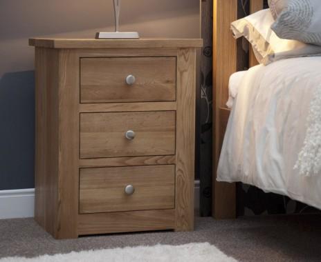 Reno Oak 3 Drawer Bedside Chest
