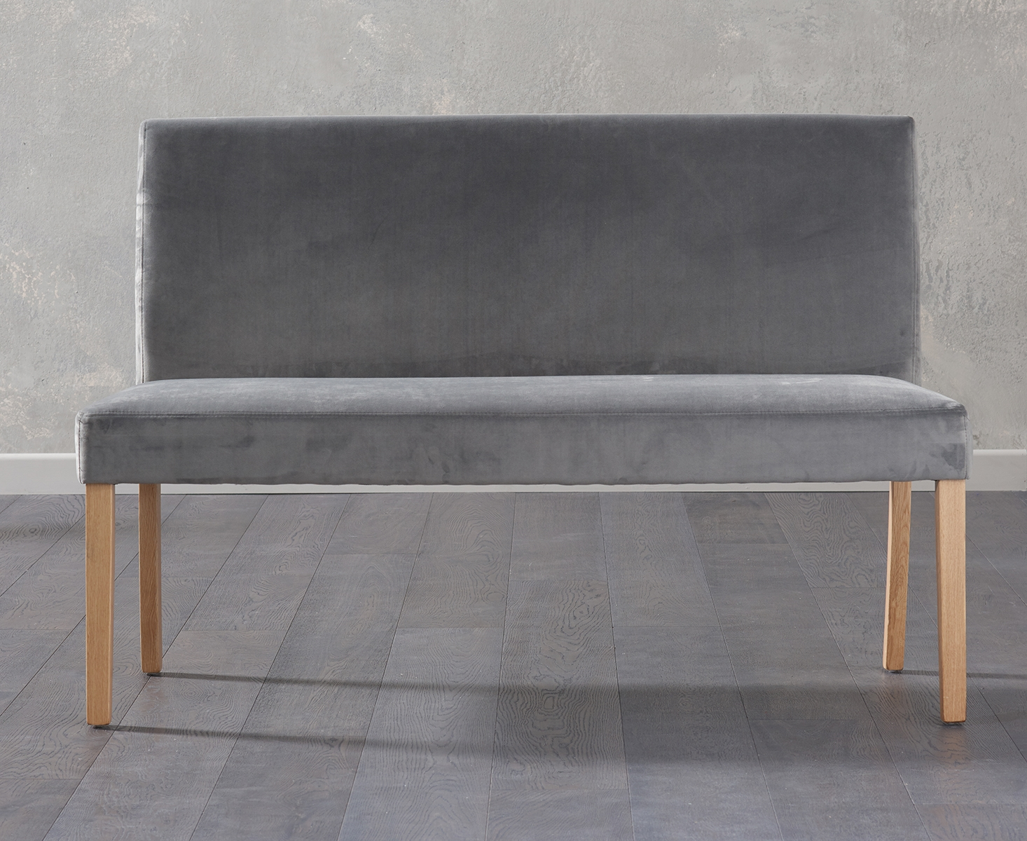 An image of Mia Large Grey Velvet Bench With Back