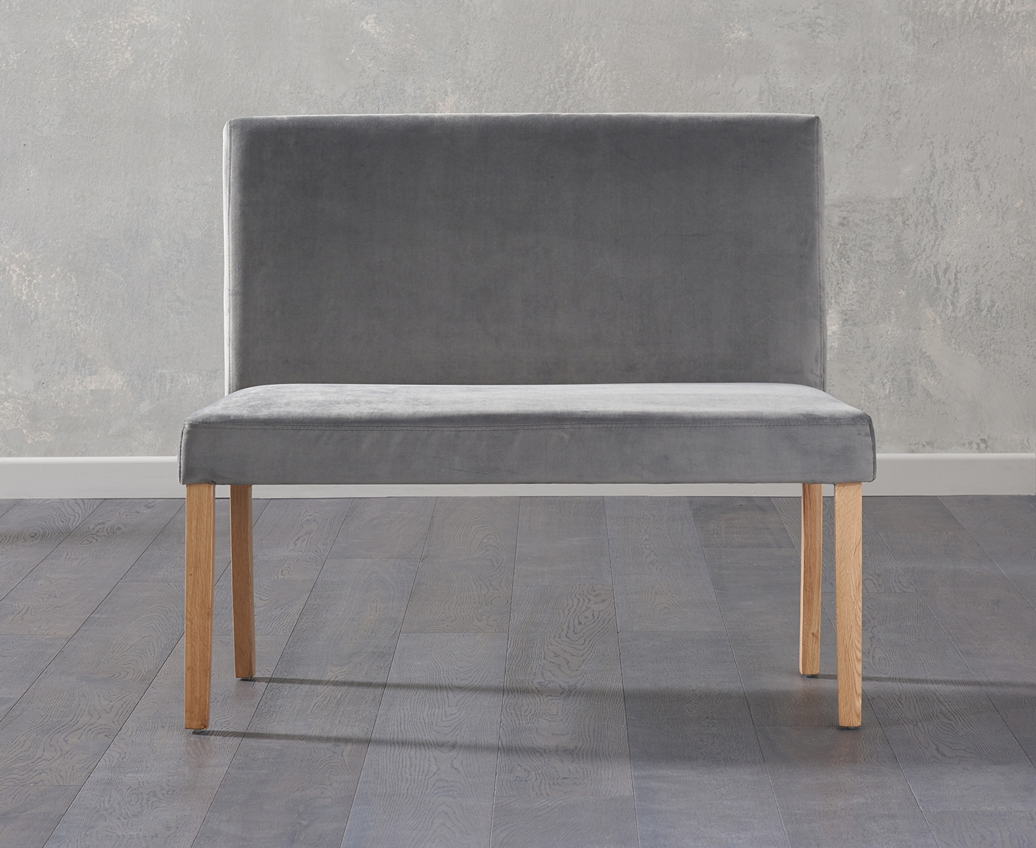 An image of Mia Small Grey Velvet Bench With Back