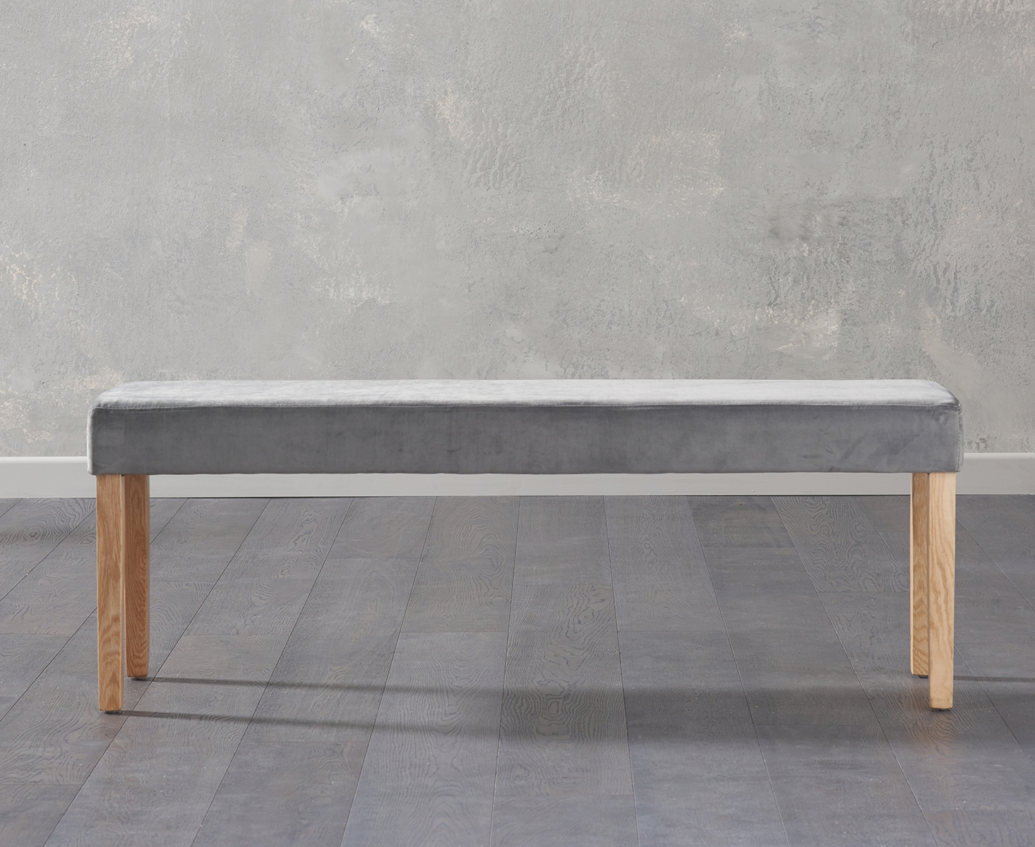 An image of Mia Large Grey Velvet Bench